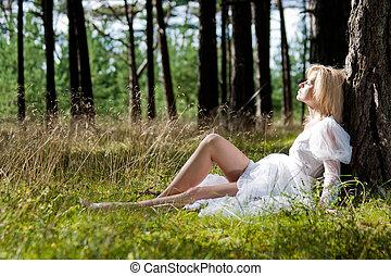 mulher, vestido, branca