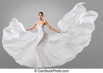 mulher, vestido branco, casório, modelo moda, em, longo, seda, noiva, vestido, waving, voando, tecido, pano, vibrar, ligado, vento