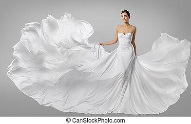 mulher, vestido branco, modelo moda, em, longo, seda, vestido, waving, voando, tecido, vibrar, ligado, vento