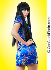 mulher, vestido, chinês, europeu
