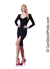 mulher, vestido, conceito, pretas, branca, moda