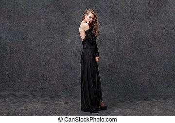 mulher, vestido, costas, longo, pretas, tentando,...