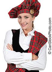 mulher, vestido, em, tradicional, escocês, equipamento