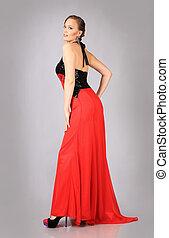 mulher, vestido, jovem, vermelho