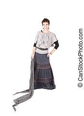 mulher, vestido, longo
