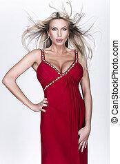 mulher, vestido, luxo, vermelho