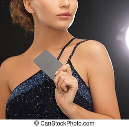 mulher, vestido noite, cartão, plástico