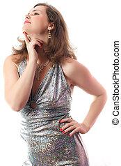 mulher, vestido, prata