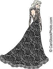 mulher, vestido, renda