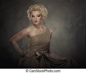 mulher, Vestido,  retro