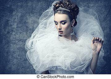 mulher, vestido, romanticos, bizarro