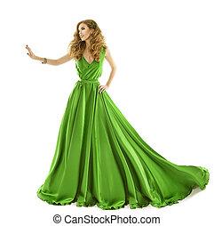 mulher, vestido verde, modelo moda, em, longo, seda, vestido, toque, por, mão, isolado, sobre, fundo branco