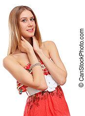 mulher, vestido, vermelho