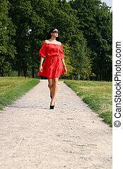 mulher, vestido vermelho, bonito