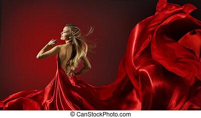 mulher, vestido vermelho, dançar, modelo moda, voando, pano, tecido
