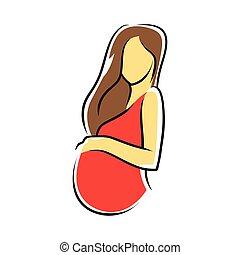 mulher, vestido, vermelho, grávida