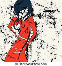 mulher, vestido vermelho