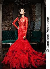 mulher, vestido, vermelho, luxuoso