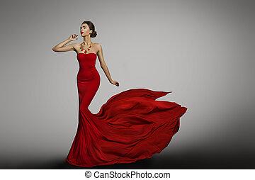 mulher, vestido vermelho, modelo moda, em, longo, seda, vestido, waving, voando, tecido, rabo, trem, pano, vibrar, ligado, vento