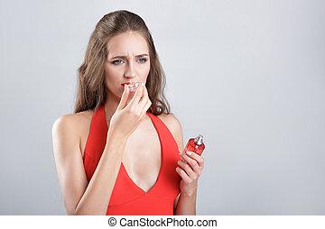 mulher, vestido, vermelho, perfume