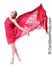mulher, vestido, vermelho, voando, bonito