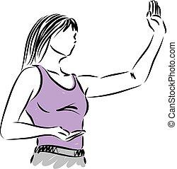 mulher, vetorial, bonito, ilustração, condicão física