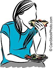 mulher, vetorial, comer, sanduíche, ilustração