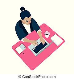 mulher, vetorial, computador, local trabalho, ilustração