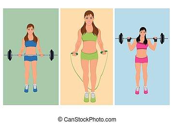 mulher, vetorial, exercitar, condicão física