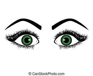 mulher, vetorial, eye.