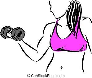 mulher, vetorial, ilustração, condicão física