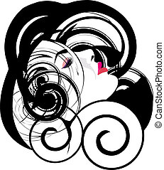 mulher, vetorial, ilustração