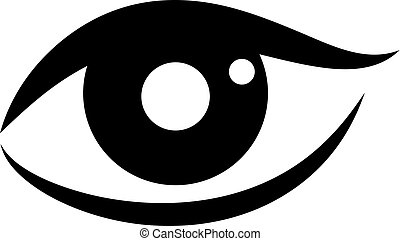 mulher, vetorial, olho, ícone