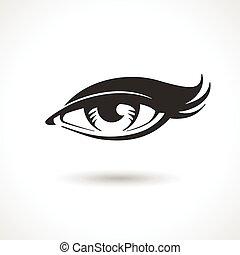 mulher, vetorial, olho, desenho