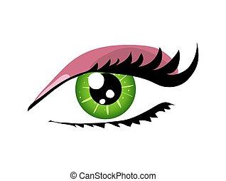 mulher, vetorial, olho, ilustração