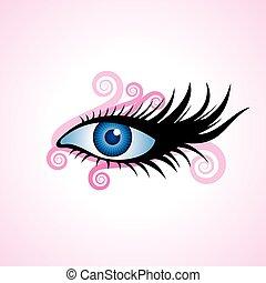 mulher, vetorial, olho