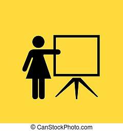 mulher, vetorial, professor, ícone