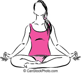 mulher, vetorial, senhora, ilustração, condicão física