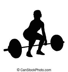 mulher, vetorial, silueta, levantamento peso