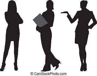 mulher, vetorial, silueta, negócio