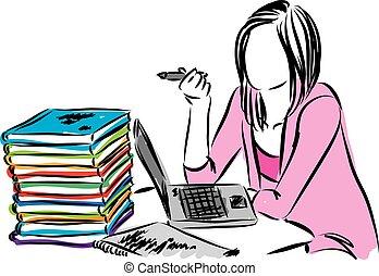 mulher, vetorial, trabalhando, ilustração