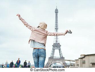 mulher, viajando