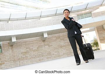 mulher, viajar, negócio