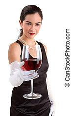 mulher, vidro, servindo, classy, vinho tinto