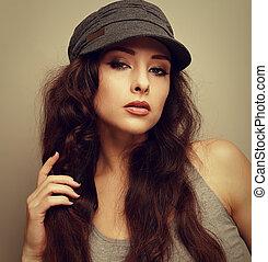 mulher, vindima, flertar, olhar, closeup, excitado, retrato, chapéu