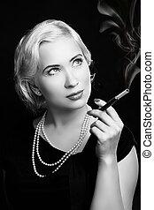 mulher, vindima, imagem, cigarro, retro, retrato