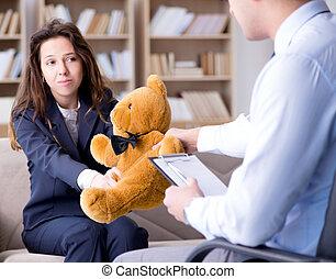 mulher, visita, brinquedo, psicólogo, urso, durante