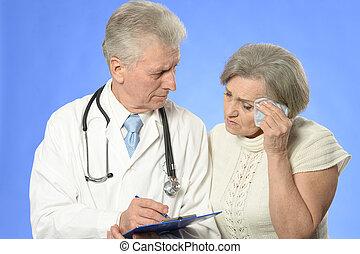 mulher, visitando, doutor