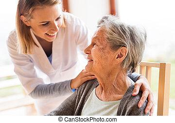 mulher, visitante, visit., saúde, lar, durante, sênior