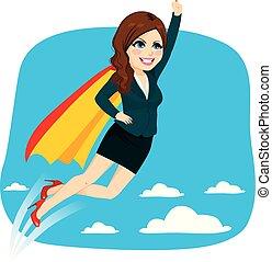 mulher, voando, super, negócio